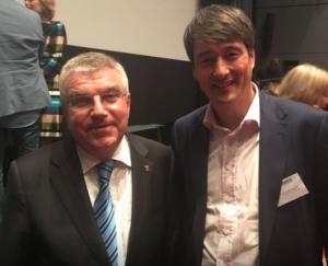 DGSZM Pressereferent Dr. Siegfried Marquardt, Tegernsee mit IOC Präsident Dr. Thomas Bach und Alfons Hörmann Präsident DOSB
